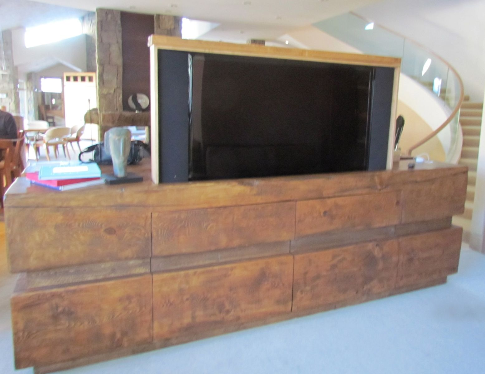 Custom Made Rustic Log Tv Cabinet Entertainment Center