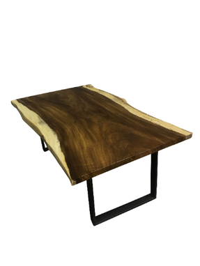 Custom Made Modern Live Edge Dining Table With Steel Legs, Rustic Live Edge Dining Table With Steel Legs