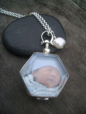 Custom Made Glass Locket In Sterling Silver