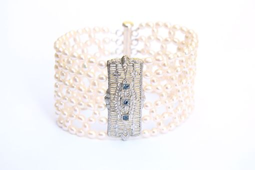 Custom Made Hand Woven Art Deco Honeycomb Weave Pearl & Tanzanite Bracelet. Perfect For Bridal Jewelry!