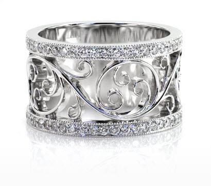 Custom Made Custom Made Silver Fashion Right Hand Band With Diamonds