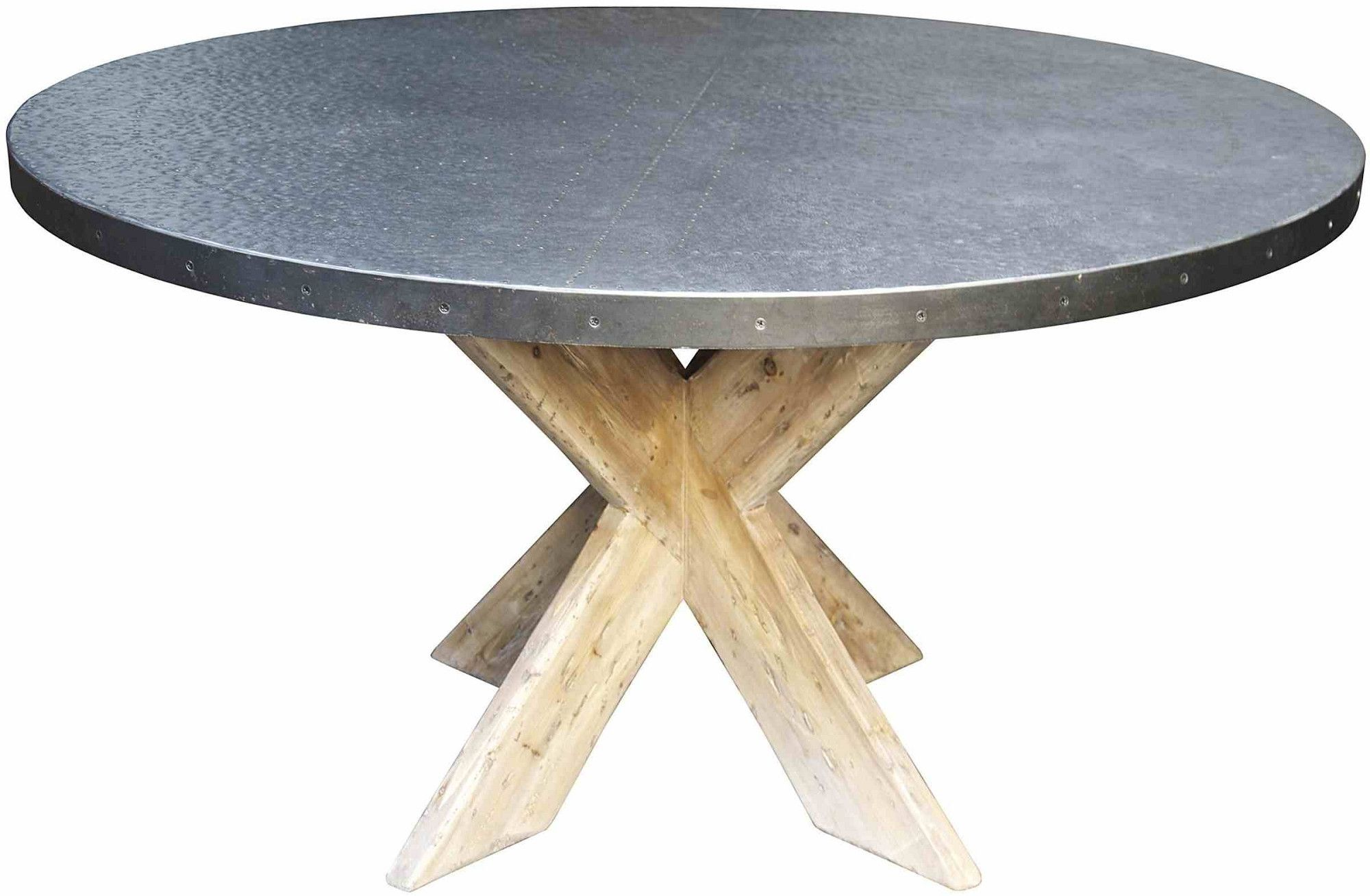 Buy Custom Made Hayward Zinc Top Round Dining Table With X Base ...