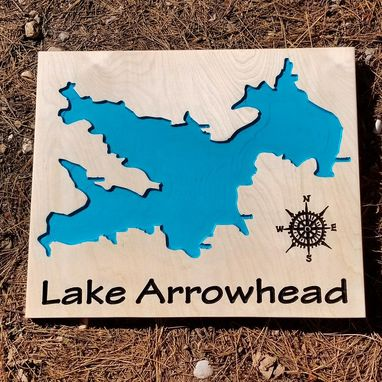 Custom Made Lake Arrowhead Carved Wood Map Sign
