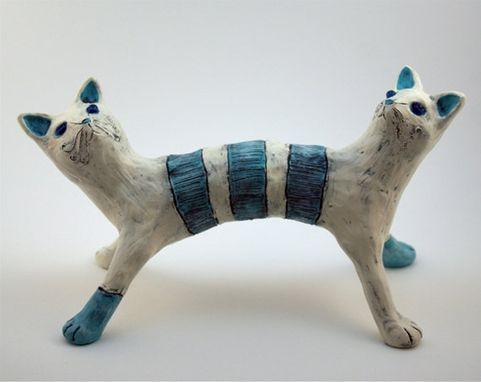 Custom Made Clay Cat Sculpture Art Object Blue Beige Monster Janus