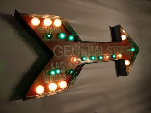 "Custom Made Marque Arrow Lights Las Vegas 45"" X 18"" X 4"" Rusted Vintage Art Aranacci"