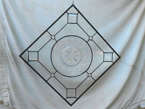 Custom Made Stained Glass Window Valance, Vintage Federal Heritage Depression Glass, Antique Plate Panel