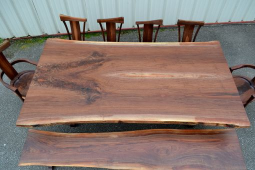 Custom Made Live Edge Curly Walnut Trestle Table