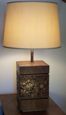 Custom Made Carved Walnut Lamp