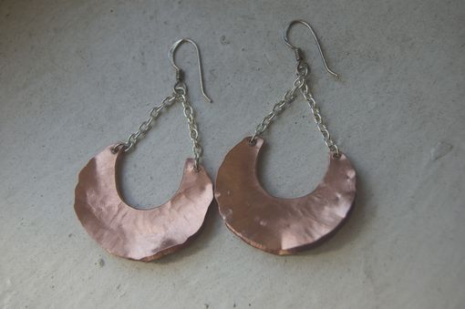 Custom Made Copper Crescent Earrings