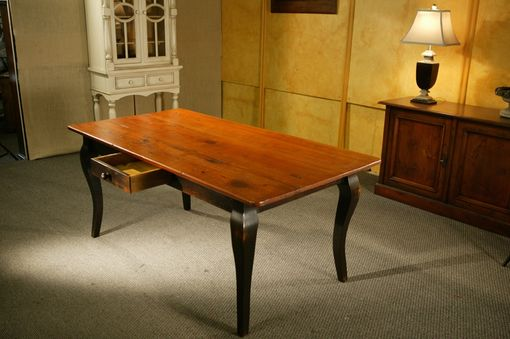 Custom Made Pine Dining Table With Brown Cherry Finish & Black French Legs