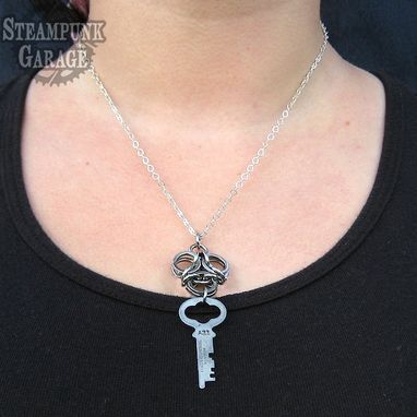 Custom Made Pendant Biohazard With Antique Key - Steampunk