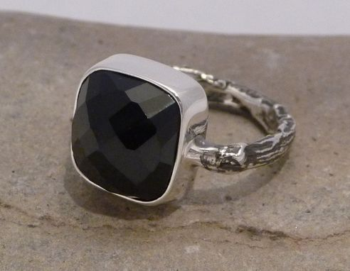 Custom Made Sterling Silver Black Spinel Twig Ring.Made To Order