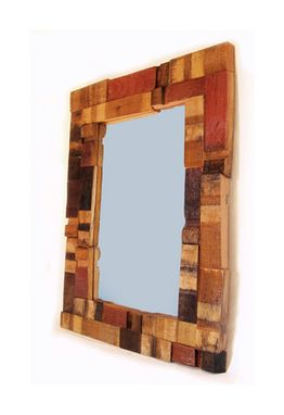 Custom Made Mirrage, Large Wall Mirror Recycled Oak Wine Barrel Staves