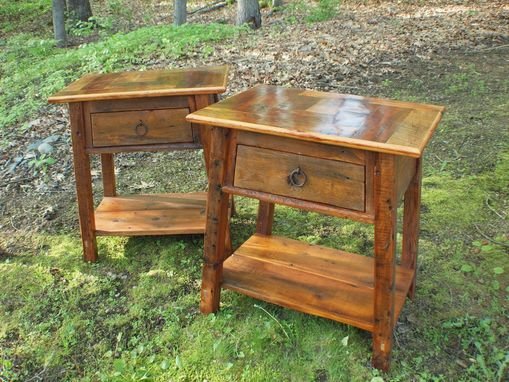 Custom Made Reclaimed Herringbone Top Night Stands / End Tables