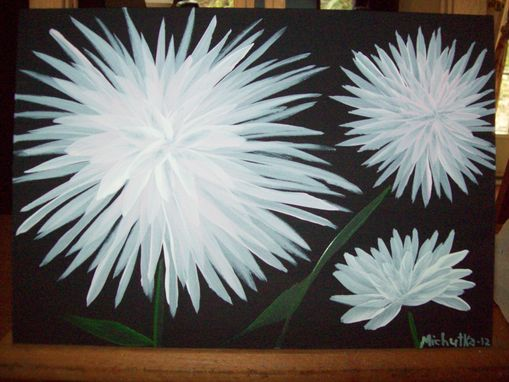 Custom Made Original Painting On Masonite Titled: White Mums