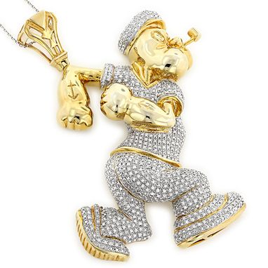 Custom Made Diamond Popeye Pendant