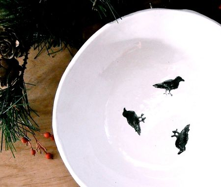 Custom Made Raven Galaxy Bowl - Handmade & Painted Black Crow Bird Pottery Serving Dish