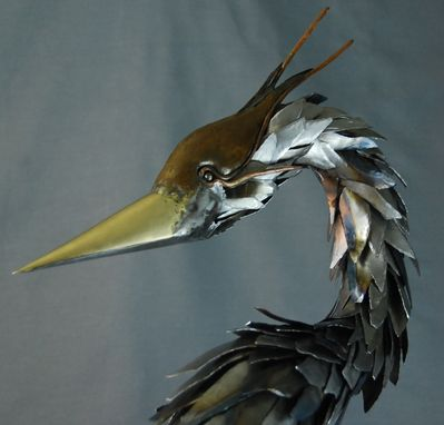 Custom Made Mantle Blue Heron Sculpture