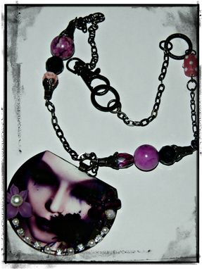 Custom Made Lady Violet Necklace - Ooak - Rusty Black Hd Pic, Vintage Beads, Ice Resin