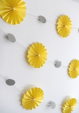 Custom Made 10ft Garland - Paper Pin Wheel Rosettes, Yellow & Gray