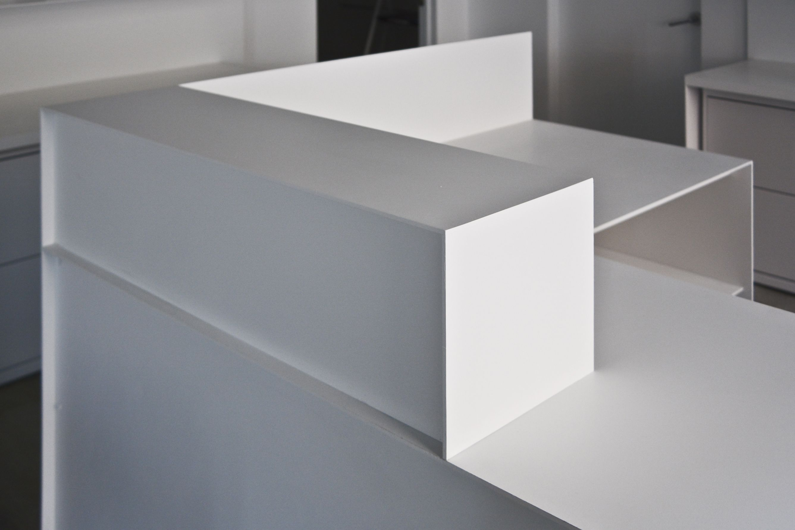 Hand Crafted Minimal White Powder Coated Steel Desks And