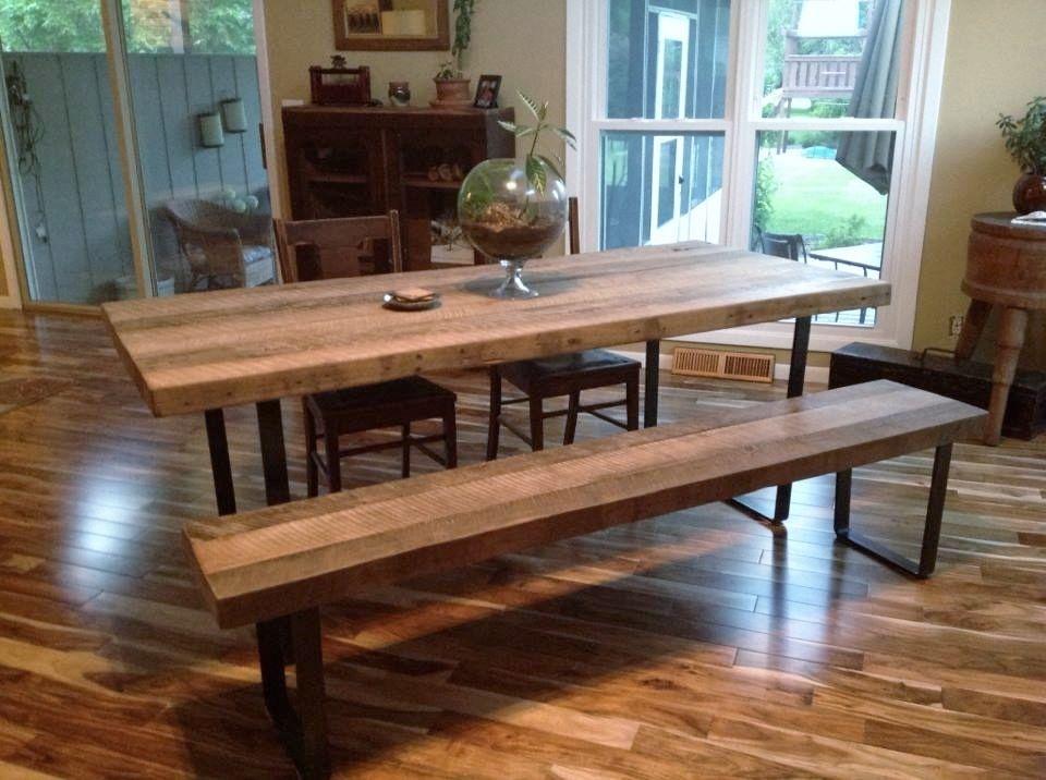 Custom Made Reclaimed White Oak And Steel Desk Table