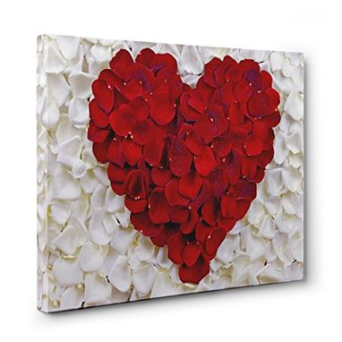Custom Made White With Red Rose Heart Shaped Canvas Wall Art