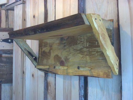 Custom Made Custom Rustic Shelf & Coat Hooks With Laser Engraved Picture.