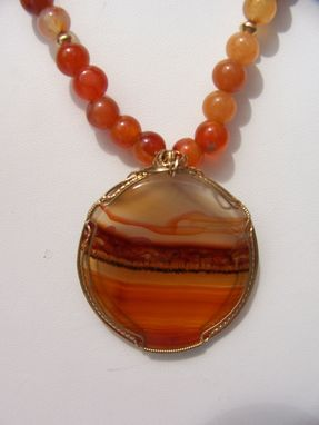 Custom Made Dramatic Landscape Agate Stone 14k Gold Wire-Wrapped With Agates Necklace