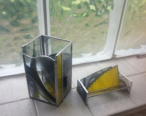Custom Made Stained Glass Pencil Holder And Card Holder Set