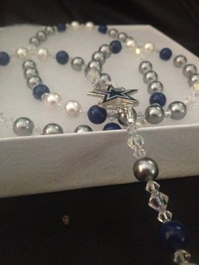 Custom Made Dallas Cowboys Swarovski Crystal Pearl Rosary Stainless Steel St. Benedict Crucifix