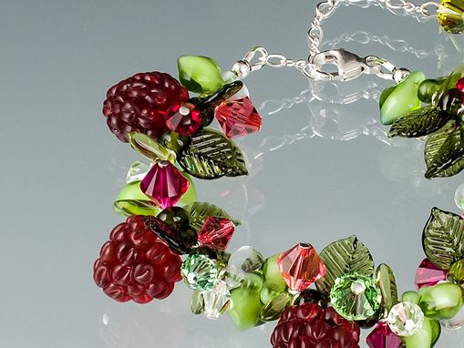 Custom Made Ripening Red Raspberry Bracelet With Swarovski Elements Crystals