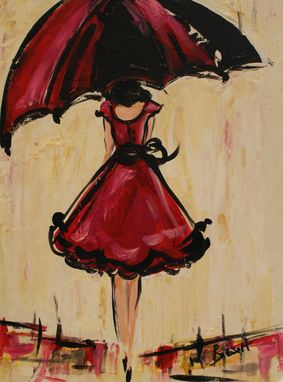 Custom Made Umbrella Girl, Acrylic Painting Sold