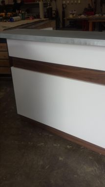 Custom Made Hand Crafted Melamine With Veneer Accents Gloss Whitereception Desk