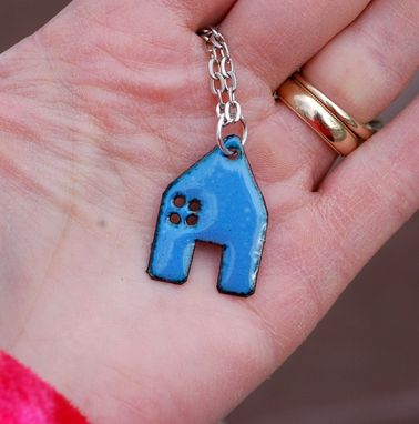 Custom Made Enamel House Pendant Copper Home Necklace Enameled Jewelry - Blue