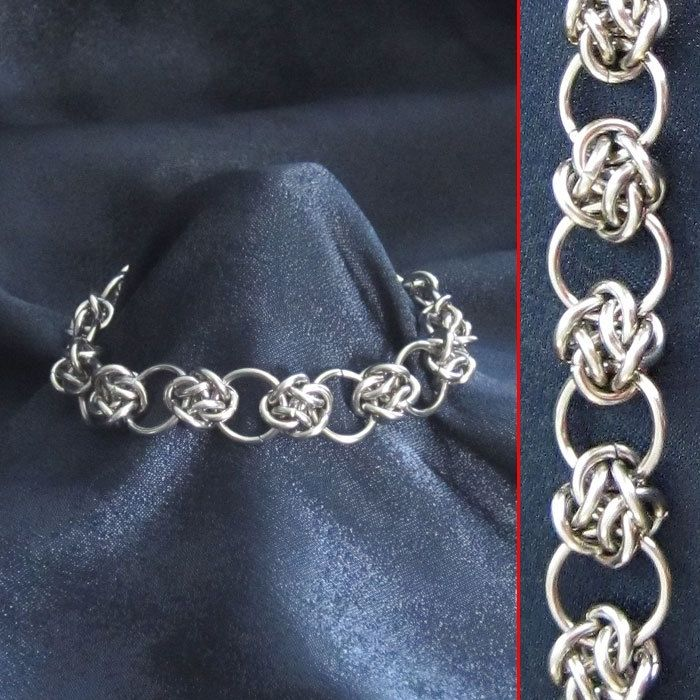 hand crafted bracelet steel cloud cover circles celtic knots