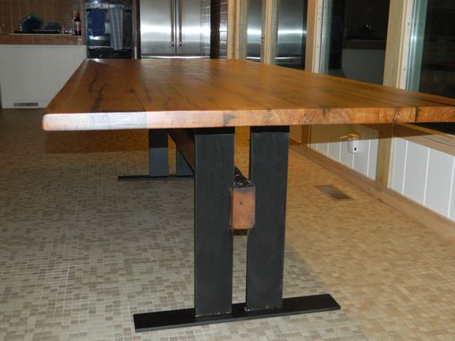 Custom Made Reclaimed Wood Table With Flat Iron Base