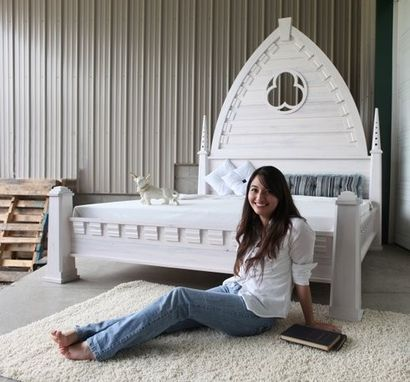 Custom Made Castle Coast Bed - 8 1/2' Tall Headboard With Pillars In White Wash