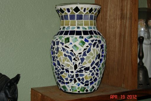 Custom Made Stained Glass Mosaic Vase Candle Holder - Springtime In Blues, Greens, Purple & Yellow