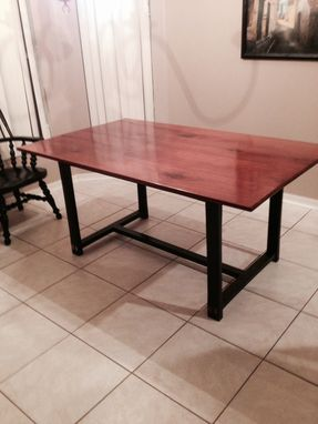 Custom Made Santos Mahogany With Ebonized Oak Base Dining Room Table.