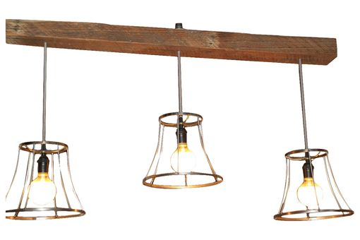 Custom Made Vintage Shades On A Reclaimed Wood Beam Light Chandelier