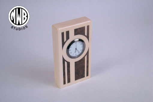 Custom Made Clock, Miniature Art Deco Inlay Design.Handcrafted In The U.S. Mdc-3