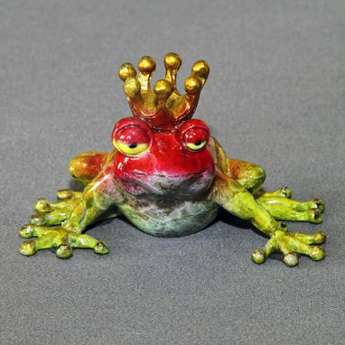 "Custom Made Bronze Frog ""Frog Prince"" Sculpture Figurine Metal Amphibian Limited Edition Signed Numbered"