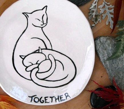 Custom Made Ceramic Pottery One Personalized Cat Name Dish - Kitty Graphic Design Plate