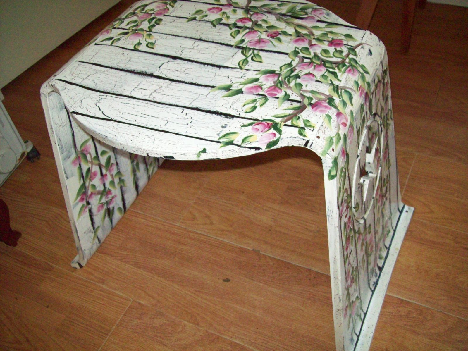 Hand Crafted Wood Table Bench Painted White Wood With Rosebuds By I Paint Cool Stuff