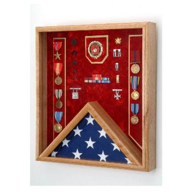 Custom Made Flag Display Case Combo Awards , Shadow Box