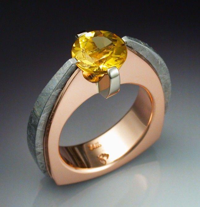 14k rose gold ring with heliodor and meteorite - Meteorite Wedding Ring