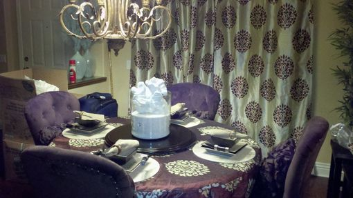 Custom Made Custom Grommet Curtains And Round Table Cover For Client In California