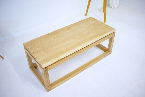 Custom Made Modern Parsons Style Solid White Oak Floating Tabletop With Brass Accents