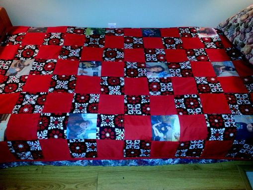Custom Made Custom Twin Size Memory Quilt Or Throw Your Pictures Or Photos Printed On Cotton